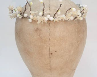 French Antique Wax Delicate Orange Blossom Flower Headdress Tiara Vintage Rustic Wedding 1900- 1909