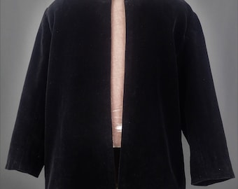 1920's MINT Antique Beautiful Black Plush Velvet Coat Jacket Girls 2-3 Costume Reenactment