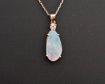 14K Rose Gold Natural Boulder Opal and Diamond Pendant