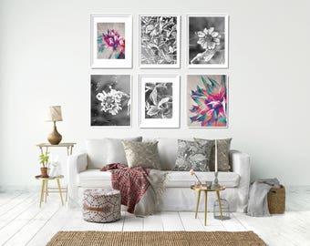 6 Floral Art Prints Set, Modern Bedroom Wall Decor, Bedroom Gallery Wall, Flower Printables Set, Printable Wall Decor Set, 6 Printables Set