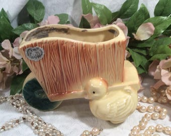 Royal Copley, Baby Duck and Wheelbarrow Planter