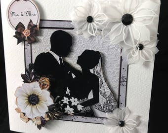 Wedding Card Mr & Mrs Silhouette Black and White