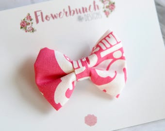 RTS Clip - Pink and White Floral Print Bow