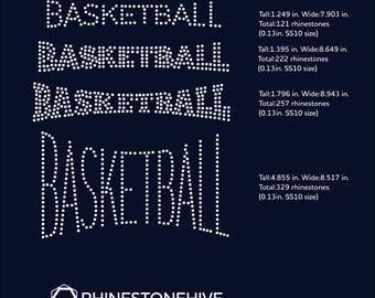 Basketball word 4 designs rhinestone template digital download, svg, eps, png, dxf