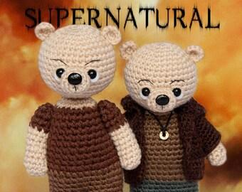 Supernatural, Knitted bear Sam Winchester Dean Winchester toy bear Knitted teddy bear Toy bear Crochet bear Knitted teddy Knitted Toy serial
