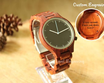 Engraved Watch Men, Boyfriend Gift, Mens Watch, Wooden Watch, Personalized Gifts for Men, Wood Watches, Engraved Wood Watch for Men