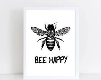BEE HAPPY PRINT - Bee Print - Bee Art - Bee Gift - Bee decor - worker bee - bee wall art - monochrome art - monochrome bee - black bee art