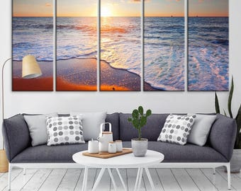 Wall Art Large Beach and Sea View Canvas Print, Large Wall Art Canvas Print, Sea Wall Art Canvas Print, Extra Large Wall Art Canvas Print