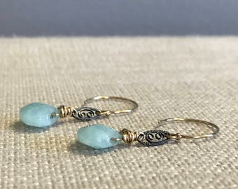 Faceted Amazonite and Filigree Earring