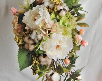 Wedding Bouquet,Peony and Cotton Bridal Bouquet//cream,white,peach,green//Cascade Silk Wedding Bouquet