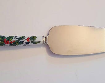 Sheffield Cake Serving Knife with Porcelain Holiday Handle