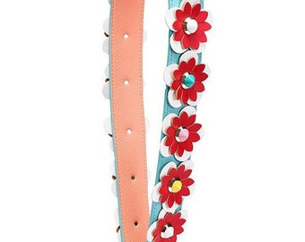 Leather Bag Strap replacement purse straps Colorful Leather flower Strap Removable Strap for Bag and Purses Interchangeable Strap