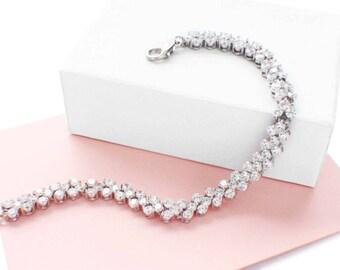 Dainty bridal bracelet, CZ tennis bracelet, bridesmaid bracelet, rhinestone wedding bracelet, rhinestone bridal jewelry, bridesmaid gift