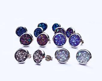 Small 8MM Rose Gold Druzy Earrings, HYPOALLERGENIC, Faux Druzy, Stud Earrings, Druzy Earring, Boho Jewelry, Rose Gold, Druzy Earrings