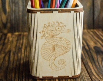 Wooden Pencil Holder With Engraving, Wooden Paint Brush Holder, Personalized Pencil Holder