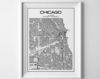 Chicago map Chicago poster Chicago city print Chicago chicago map print chicago map art personalized gift custom map chicago illinois map