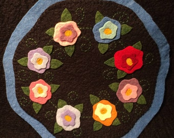 Penny Rug, Wool Felt Candle mat - Flowers,  Wool Felt Applique,  candle mat, READY TO SHIP