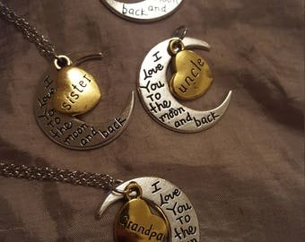 """Uncle, Sister, Daughter or Grandpa Heart and Moon Necklace - """"I Love You To The Moon And Back"""" Solid Silver & Gold"""