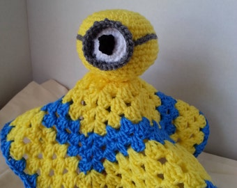 Crochet Lovie Blanket, Minion Lovie Security Blanket, Lovey