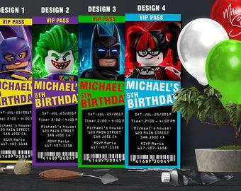 Lego Batman Ticket Invitations, Lego Batman Invitations, Lego Batman Birthday Invitation, Lego Batman Party Invite, Lego Batman Movie