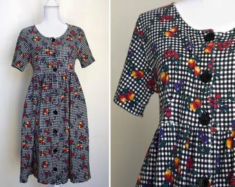 1990s Gingham & Fruit-Patterned Shirt Dress // Small/Medium