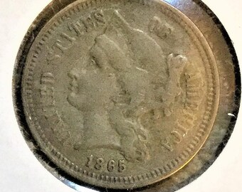 1865 3 cent nickel, hard to find, superb condition,