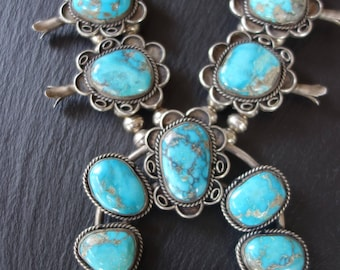 Squash blossom necklace, 232 grams, Chunky Bisbee turquoise, mid 1970s, Navajo, sterling silver