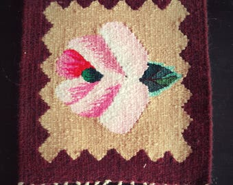 Small decorative carpet / Handmade / Unique/ Pink rose bud on beige background with dark red borders