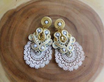 Bridesmaids Soutache earrings| Soutache earrings| Soutache| Bridal Earrings| wedding Jewelry| Gifts for her| Long earrings| Boho earrings