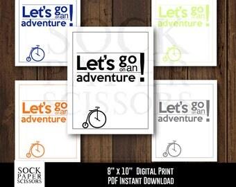 Printable Kids Wall, Let's Go On An Adventure,  Vintage Tricycle Print Printable Wall Art,  Nursery Art, PDF Digital Download, SKU-RNA100