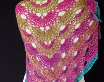 Crochet shawl, virus crochet shawl, vivid colors, very light cotton yarn