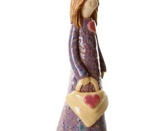 Charming Girl With A Handbag in a Purple Dress | Little Fashionista Gift | Hand Made Ceramic Ornament | Quirky & Thoughtful Gift