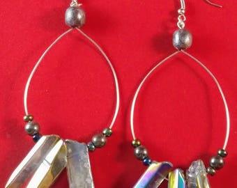 Howlite wire hoop earrings