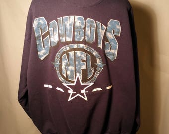 90s Dallas Cowboys Navy Blue Sweatshirt Sz XL X-Large Polycotton NFL Football Cowgirl Texas TX Big Logo Sweater Long Sleeve 1990s Streetwear