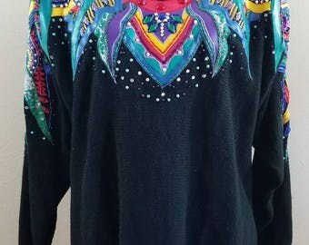 Vintage Sweater, Tacky Sweater, Ugly Sweater - size M #310