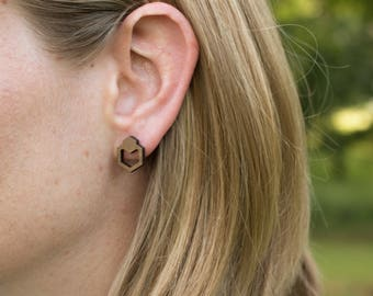 Wood Stud Earrings, Boho Stud Earrings, Hexagon Studs, Stud Earrings, Wooden Stud Earrings, Gift for her, Wooden Earrings, Wooden Studs