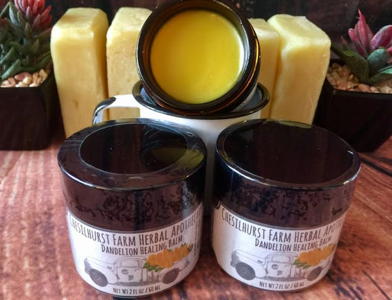 Dandelion Salve - Dandelion Healing Balm - 2 oz Amber Glass Jar - Chesilhurst Farm Herbal Apothecary