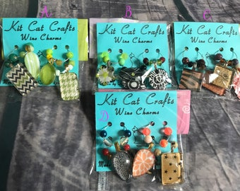 Glass Tile Wine Charms with beads 4pk, Ready to Ship, planner charm, necklace
