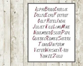 Alpha Bravo Charlie / Aviation Alphabet / Pilot Prints / Army Phonetic Alphabet / Pilot Alphabet / Alphabet Poster Printable / ABC Poster