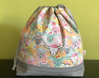 "Handmade drawstring bag / pouch for knitting crochet project 10.5"" x 8"" x 3.5"" *Knitting Sheep*"
