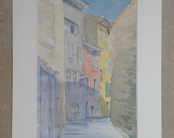 Original watercolor painting aquarelle originale Nyons originele aquarel