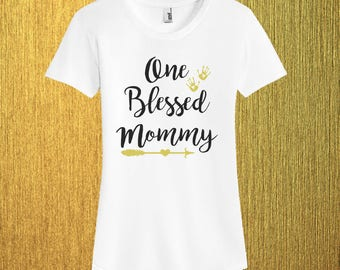 One Blessed Mommy Shirt, Baby Shower Gift for Her, Mom's Mama Wife Birthday, Pregnancy Shirt Tank Top, Expecting Mother, Women's shirts,