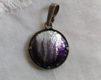 Purple and white enamel round pendant unique