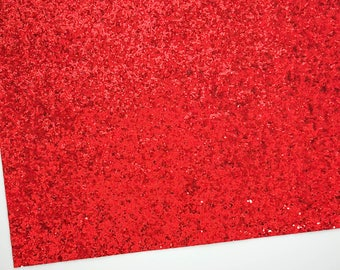 Red Chunky Glitter Fabric Sheet 8x11, White Canvas Backing