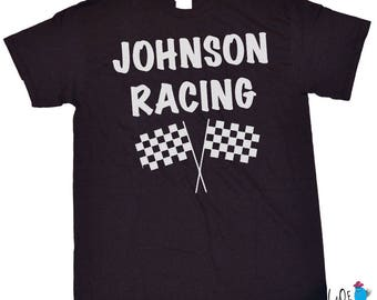 Personalized Youth Checkered Flag Shirt - Race Fans - Favorite Driver - BMX - Motocross  -NASCAR Racing - Race Fans - Future Racer