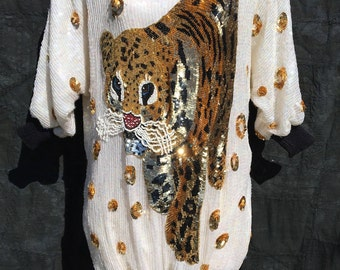 Eye of the Tiger 80's Sequin Beaded Party Dress