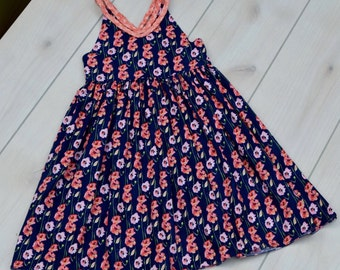Girl's Dress with Braided Straps