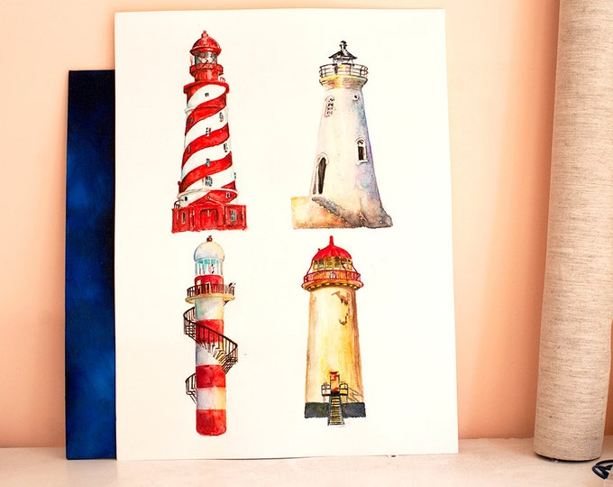 Lighthouse Watercolor Art, ORIGINAL Watercolor Painting, Lighthouse painting, Lighthouse Art, Beacon, Nautical art, Watercolor Lighthouses