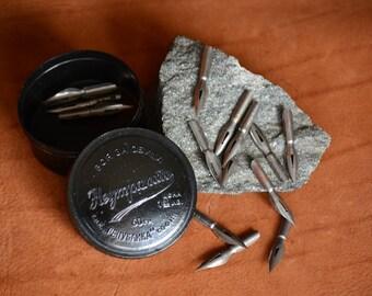 Steel Ink Pen Nibs,15 Calligraphy Ink Nibs,Collectible Ink Nibs,Dip Pen Nibs,Germany Pen Nibs,Stainless Steel Pen Nibs,Old Bakelite Box