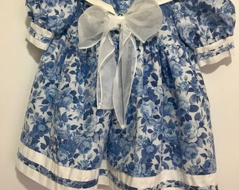 Vintage Martha's Friends Toddler Blue Floral Print Dress